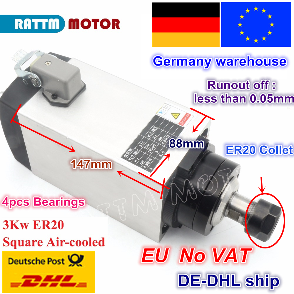 DE ship free VAT 3KW ER20 AIR COOLED SPINDLE MOTOR 220V 18000rpm 300Hz 4pcs Bearings for