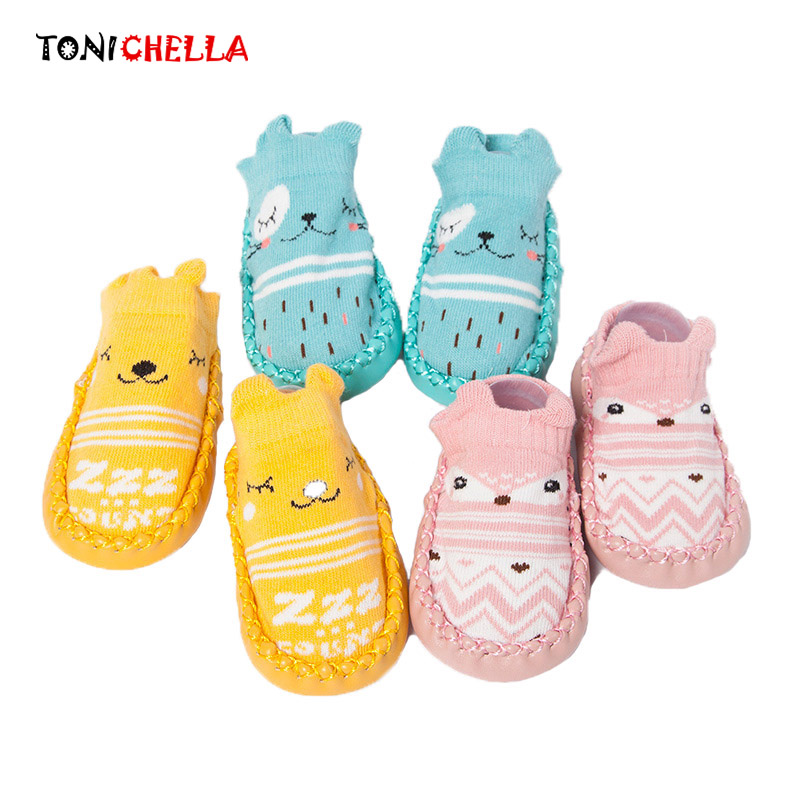 Newborns Socks Cute Cartoon Toddler Non Slip Leather Bottom Infant Spring Summer Children Cotton Novelty Floor Socks CL5230