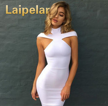 Laipelar New Fashion Women Sexy Bandage Dress Sleeveless Evening Party Solid Color Halter Design Pencil