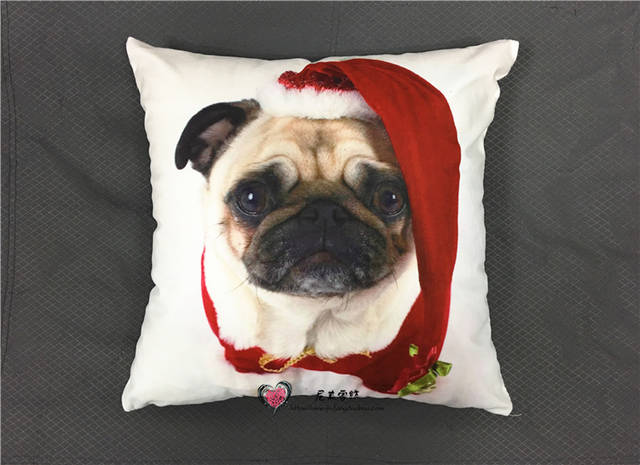 US $4 96 29% OFF|Pug Lover Kiss Me Cushion Covers Christmas Festival Dog  Pillow Cases Boys ans Girls Favor 40X40cm Bedroom Decor-in Cushion Cover  from