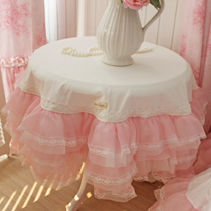 New Romantic sweet tablecloth wedding decoration table cloth princess round square table cover 6 layers lace