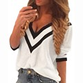 Alishebuy Plus Size 2017 Spring Autumn Women Sexy Tee Tops Casual Deep V Neck Splicing Ladies Loose 3/4 Sleeve Blusas