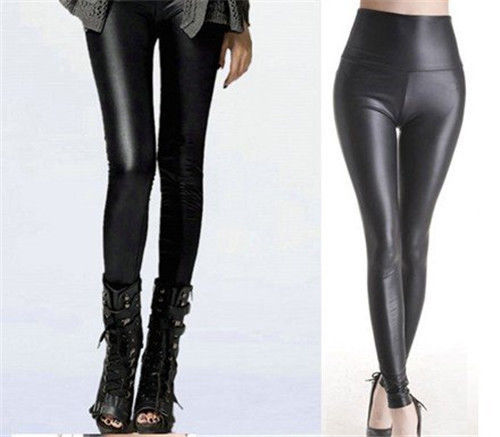 Women Clothing Leggings Pants Sheath Stretch Faux-Leather Black High-Waist One-Size Cheap