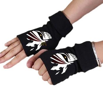 2017 Anime Bleach Cotton Glove Fingerless Cartoon Kurosaki ichigo Figure Print Gloves Mitten Unisex Cosplay Gift Winter Warm hot anime pvc toy figure model cartoon cool bleach kurosaki ichigo action figure model birthday gifts