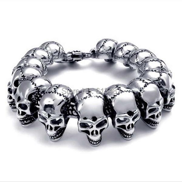 8.66*24.3mm Fashion Cool Motobike Men Cow Boy Skull Head Chain Silver Titanium Steel Bracelet Bangle Good Gift