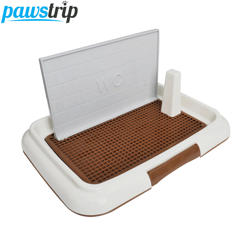 pawstrip-pet-small-dog-litter-box-with-column-mesh-indoor-dog-toilet-training-tray-self-cleaning-accessories