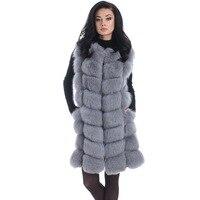 90CM Natural Real Fox Fur Vests Winter Long Thick Women Genuine Fur Vest Jacket Real Fur Vest Coat Factory Direct Wholesale