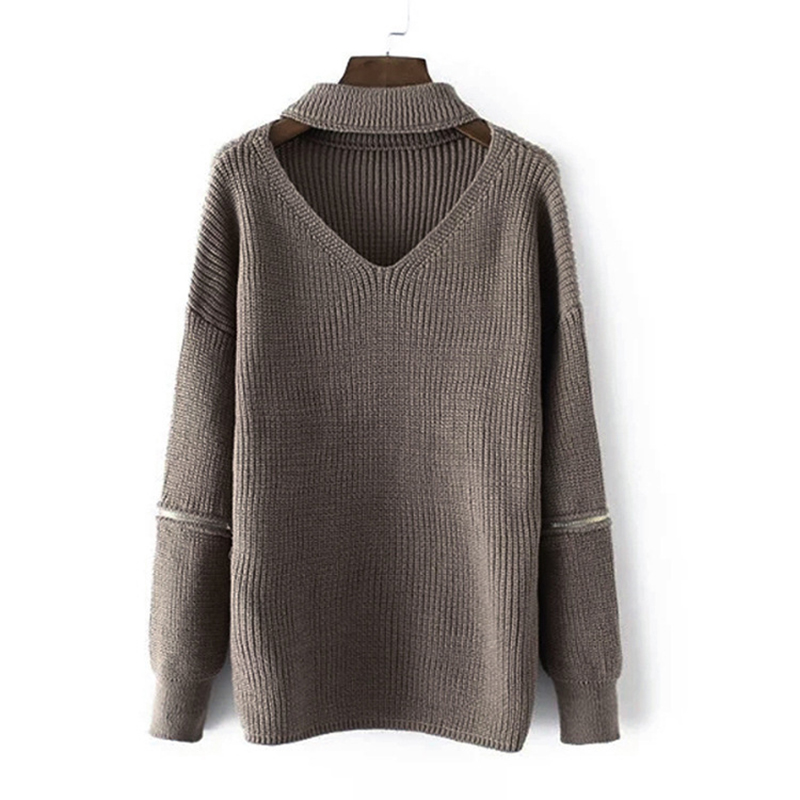 f77e32684dcdd 2018 New Arrival Fashion Women Winter Knitted Sweater Girl oversized  pullover Sweaters V neck Female Pull Femme knitwear coat-in Pullovers from  Women s ...