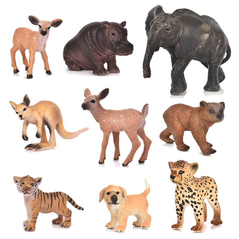 20 Style Zoo Simulation Tiger Elephant Deer Leopard Plastic Forest Wild Animals Modeling Toys Figurine Home Decor Gift For Kids