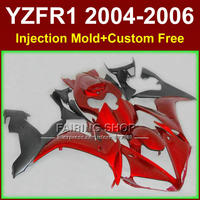Custom free motorcycle road/race Injection fairings for YAMAHA R1 2004 2005 2006 YZFR1 YZF1000 YZF 04 06 red black fairing kits