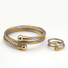 Luxury Stainless Steel Braided Open Men Women Charm Cuff Bracelets Set Trendy Chain Link Sporty Wrap Bracelets Bangles cheap Msiena Smnuer Charm Bracelets lovers Fashion Metal Link Chain decoration ROUND Jewelry B1061 Tension Mount Lobster-claw-clasps