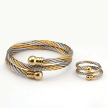 Bangles Bracelets-Set Charm Stainless-Steel Luxury Women Trendy Chain-Link Cuff Braided