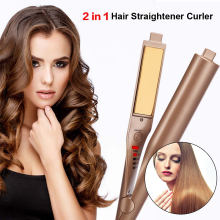 Sale 2017  Hair Curler Curling Iron Professional Hair Wipers Hair Curler Salon Quality 2-in-1 Hair Curling & Straightening Iron
