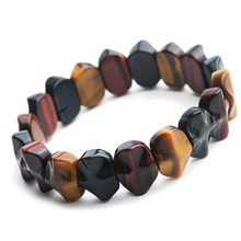 купить Genuine Natural Colorful Tiger Eye Gemstone Stone Bracelet Bangles 15x6mm Women Men Stretch Crystal Rectangle Beads AAAAA по цене 1529.93 рублей