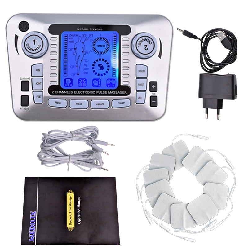 EMS Muscle Stimulator Therapy Massager Tens Acupuncture Digital Electrical Muscle Stimulator Body Relax Fat Burner 10 PadsEMS Muscle Stimulator Therapy Massager Tens Acupuncture Digital Electrical Muscle Stimulator Body Relax Fat Burner 10 Pads