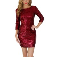 2017 New Style Summer Dress Women O-Neck Wrist Sequins Backless Bodycon Slim Pencil Party Dresses H