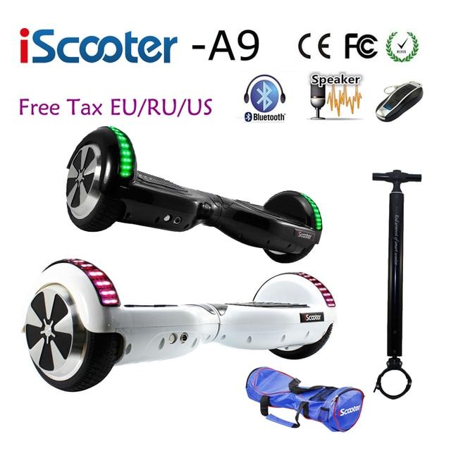 Iscooter 6.5 дюймов ХОВЕРБОРДА UL2272 Bluetooth Электрический скейтборд рулевого колеса смарт-2 колеса Самостоятельная Баланс стоял скутер
