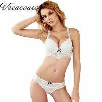 Sexy Women Bra Set Deep V Full Lace Underwear Female Underwire Bras Push Up Bra Brief