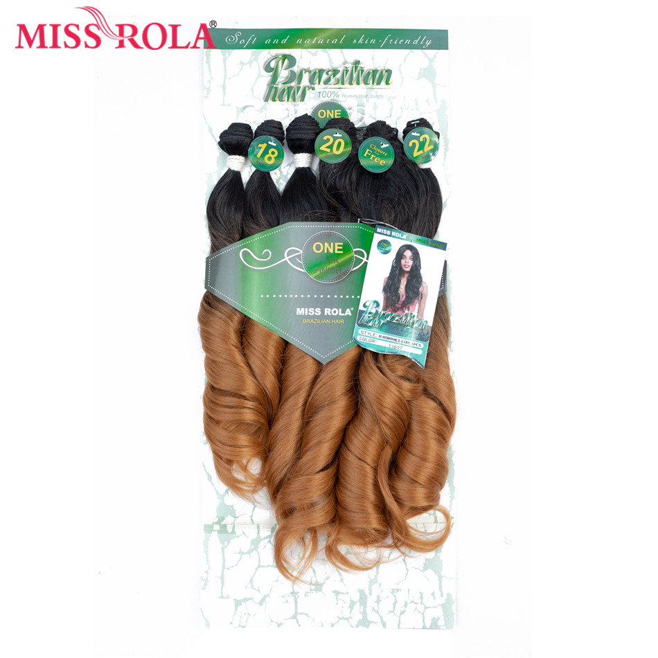 Miss Rola Ombre Wavy Hair Bundles Synthetic Hair Extensions Loose Wave Bundles T1B/27 18-22'' 6pcs/Pack Hair Weaves Free Closure