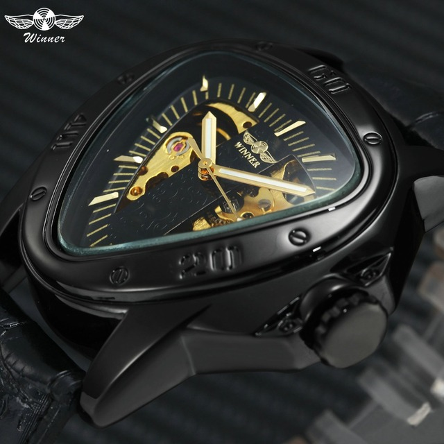 WINNER Top Brand Luxury Men Automatic Mechanical Watch Triangle Case Skeleton Black Dial Creative Wristwatches New Year Gift