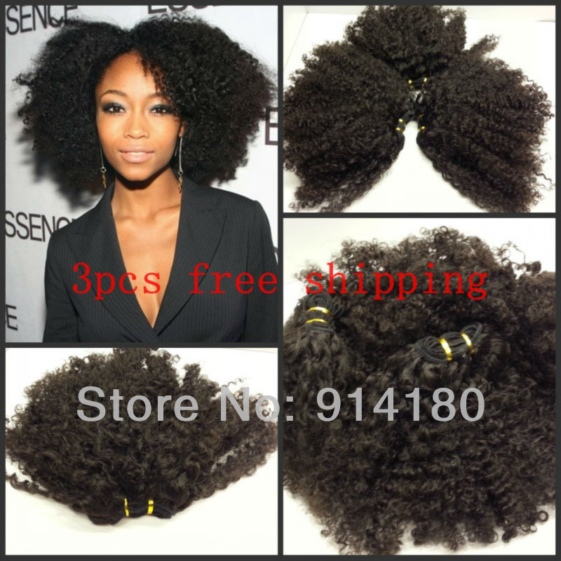 Pretty Natural Color Afro Kinky Curl Virgin Indian Hair Weavingweft