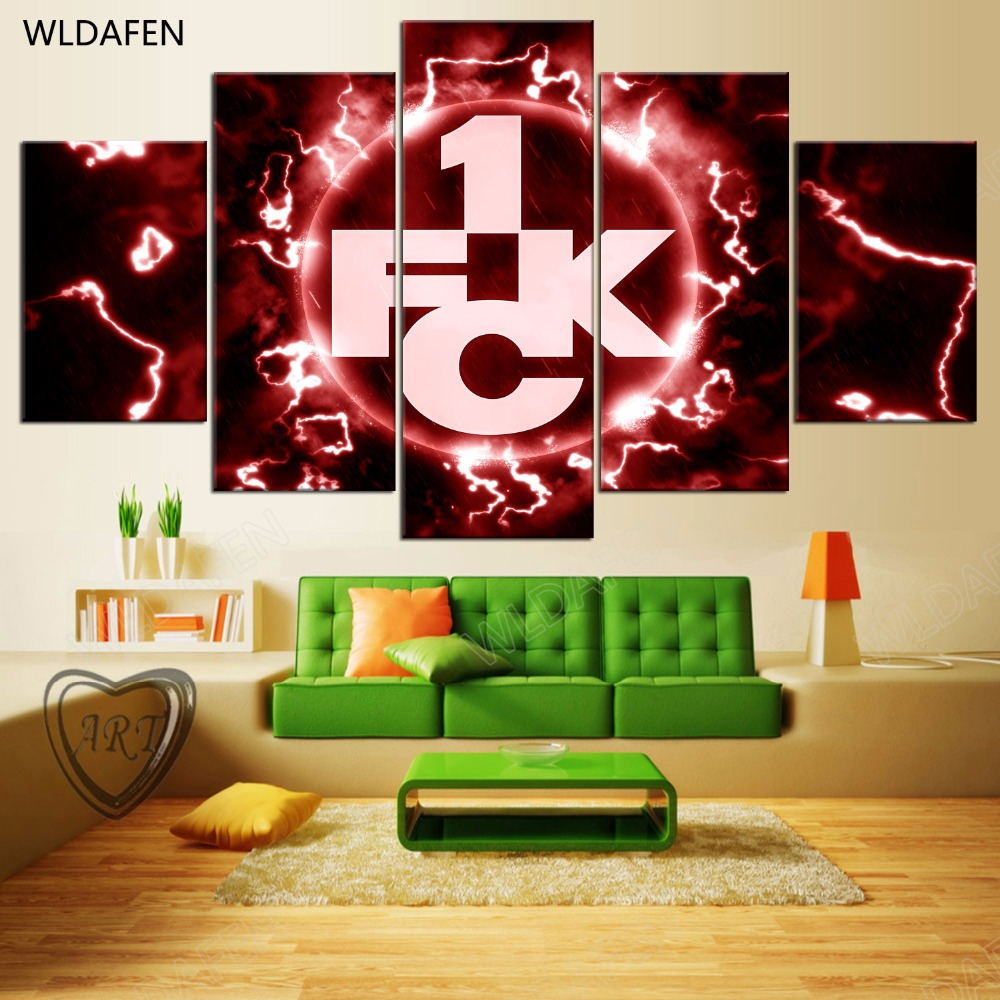 5 Pieces Sports Team Deco Fans Posters Oil Painting On Canvas Modern Home Pictures Prints Decor Living Room PH4-1801