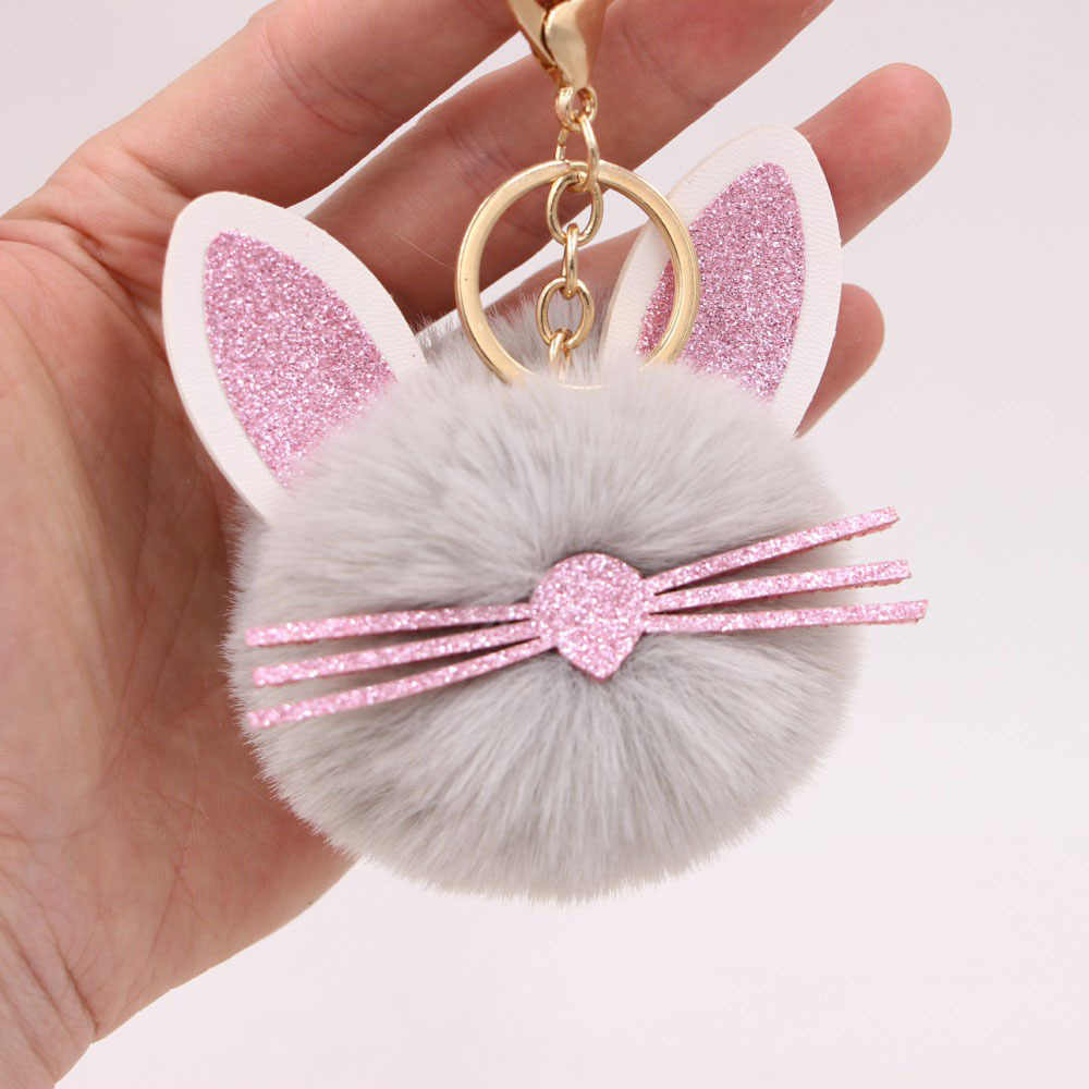 Cute Fluffy Ears Beards Cat Keychain Pompom Many Color Choose Fake Rabbit Fur pompon Key Chain Bag Car Keyring
