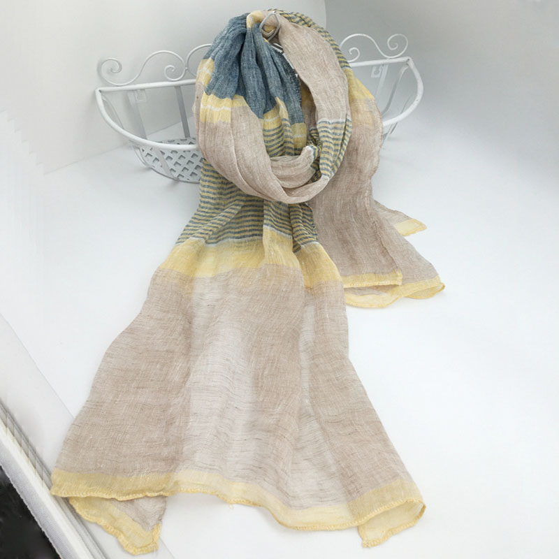 Striped   Scarf     Wraps   Linen Women And Men   Scarf   Sunscreen Long   Scarves