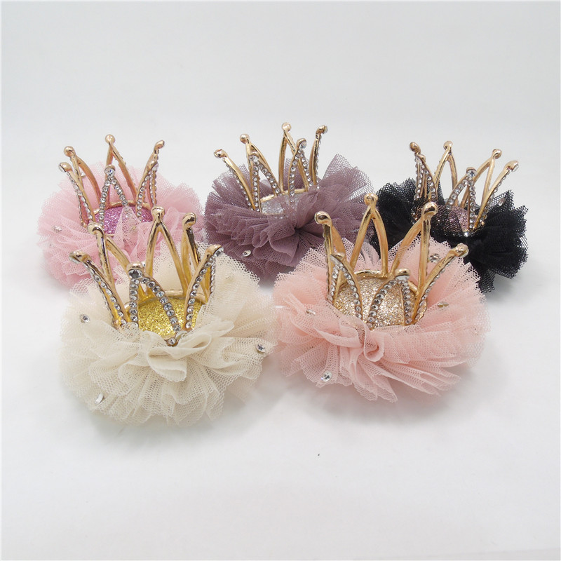 5pcs/lot Luxury High Quality Metal Crown Hair Clip With Clear Rhinestone Tulle Pink Cream Crystal Tiara Barrette Birthday Gift