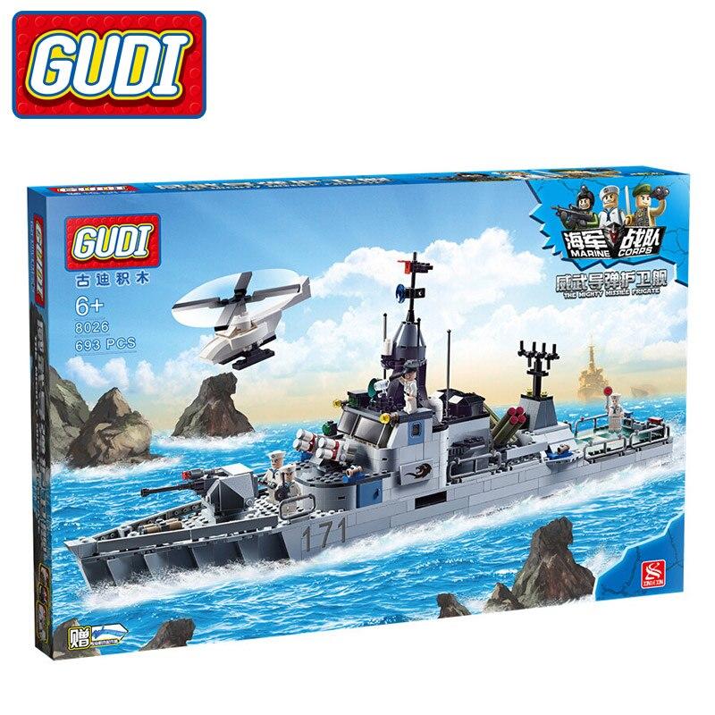 ФОТО GUDI Military Frigate Blocks 693pcs Bricks Building Block Sets Toys For Children
