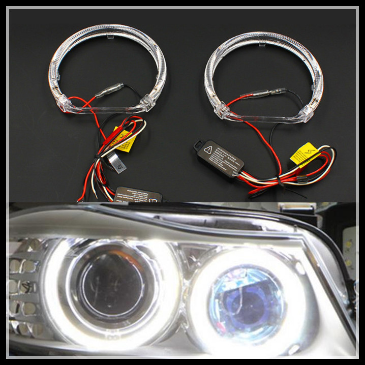Rockeybright 2*120mm cut rings +2*100mm full circle rings angel eyes white color led halo ring car styling led angel eyes other voices full circle cd