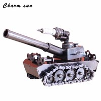 Creative 3d Iron Metal Car Tank Model Ornaments Boutique Cafe Bar Decorated Birthday Gift Kids Toys