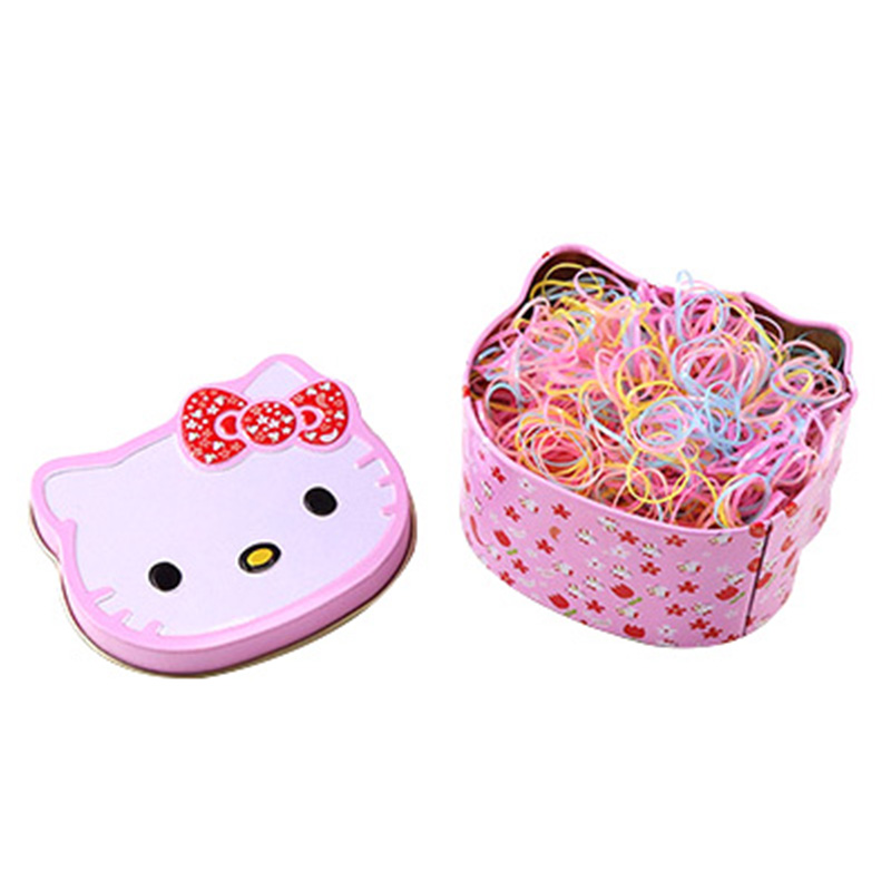 Gift Box Packed About 700PCS Kids Disposable Colorful Elastic Hair Bands Cute Hair Bands Ponytail Holder Girls Hair Accessories 20pcs lot new colorful mink hair black elastic hair bands girls tie ponytail holder hair ropes kids headbands hair accessories