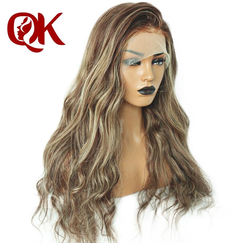 QueenKing Cami Cor Balayage Ombre cabelo Peruca Dianteira Do Laço 180% Densidade Perucas T4/4/24 Brasileira Remy do cabelo frete Grátis Durante A Noite