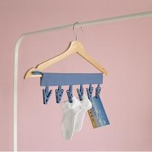 4 Colors Portable Socks Dry Cloth Travel Folding Hanger Clips Clothes Hats Bag Key Hooks 6