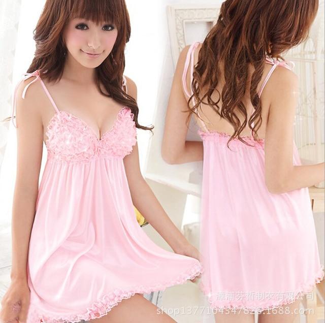 women's sexy summer spaghetti strap sleepwear pink lace princess