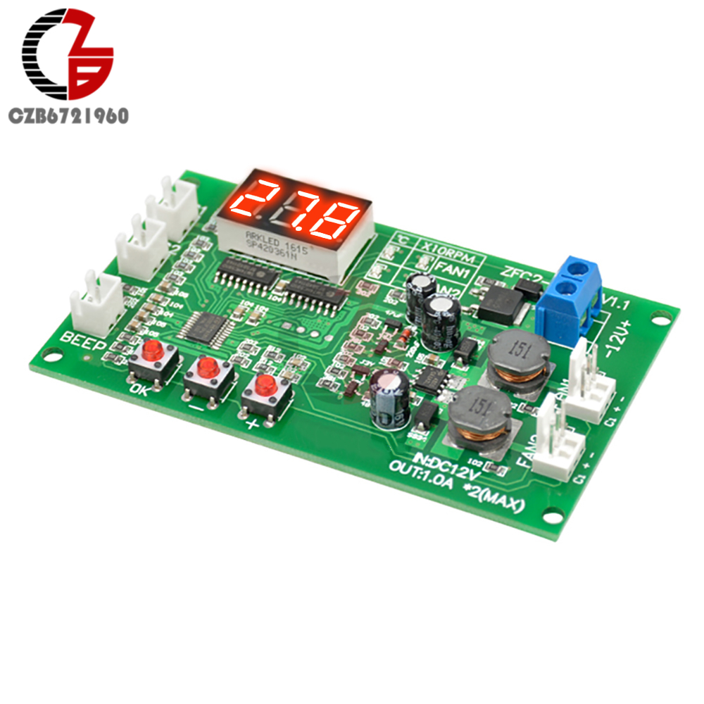 DC 12V 2 Channel 3 Wire Digital Thermostat Fan Temperature Control DC Motor Speed Controller Governor Switch NTC Sensor Buzzer w1209 green led digital thermostat temperature control thermometer thermo controller switch module dc 12v waterproof ntc sensor