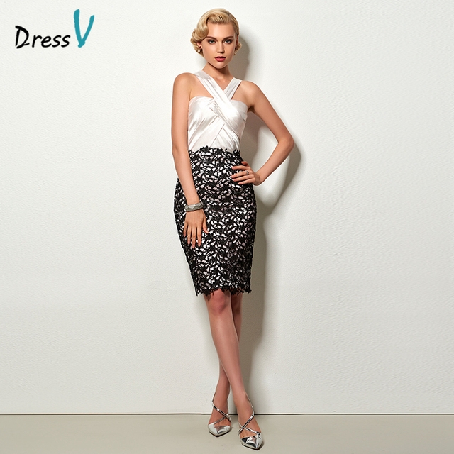 Dressv fashion sheath short cocktail dress ivory halter sleeveless knee length lace office dress short cocktail party dresses