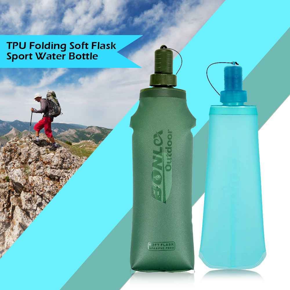 TPU Folding Soft Flask Sport Water Bottle Running Camping Hiking Water Bag Collapsible Drink Water Bottle Water Bag-in Water Bags from Sports & Entertainment