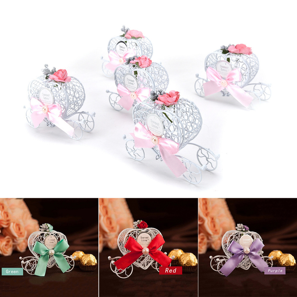 Cinderella Carriage Wedding Favor Chocolate Candy Box Hollow Carriage Gifts Baby Shower Wedding Party Decoration