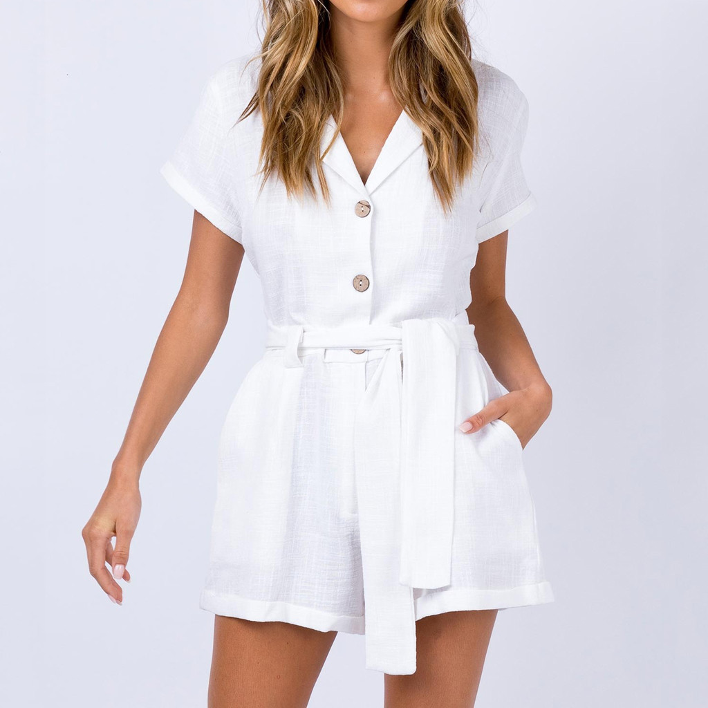 Newest 2019 Sexy Fashion Rompers Cotton Linen Women V-Neck Short Sleeve Buttons Bandage High Waist Casual Pocket Solid Jumpsuit