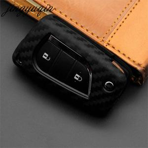 Image 5 - jingyuqin Carbon Fiber Silicone Remote Fob Case For Toyota Highlander Camry Corolla EX VIOS 3 Button Car Flip Folding Key Cover