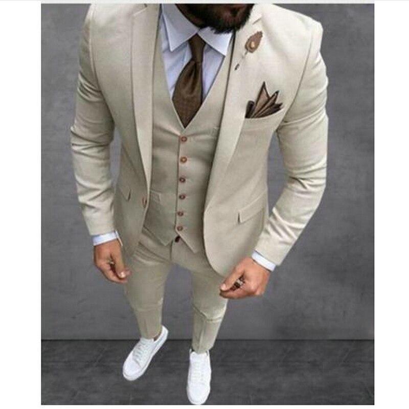 Custom Made Groomsmen Beige Groom Tuxedos Notch Lapel Men Suits Wedding Best Man Blazer ( Jacket+Pants+Vest +Tie)