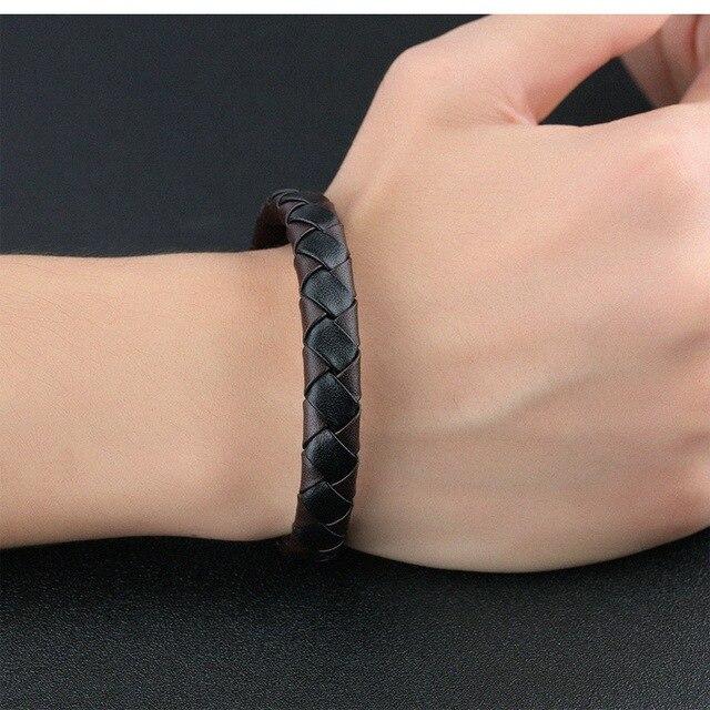 Модные аксессуары плетеный кожаный браслет из воловьей кожи