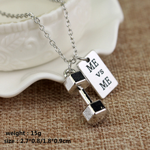 Fitness Gym Necklace Dumbbell Necklace Pendant Jewelry Bodybuilding Necklaces Men Women