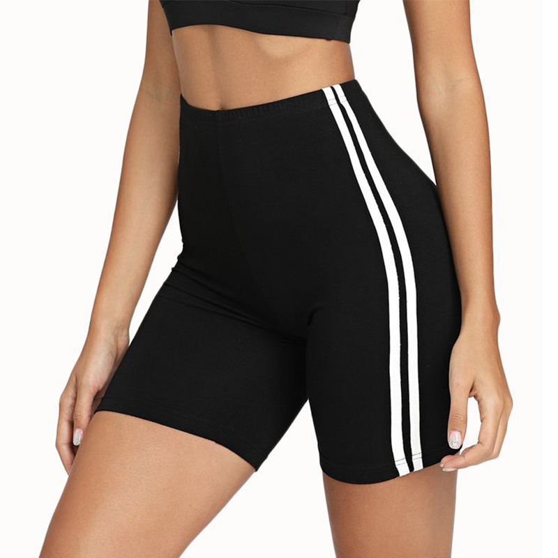 Women Skinny Biker Shorts Yoga For Fitness Contrast Striped Side Cycling Shorts Active Gym Wear Summer Fitness Black Short,ZF189