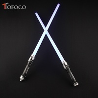 TOFOCO 2Pcs/Set Led Flashing Light Sound Sword Toys Cosplay Props Swords Weapons Double Lightsaber Kids Toys For Boy Gift