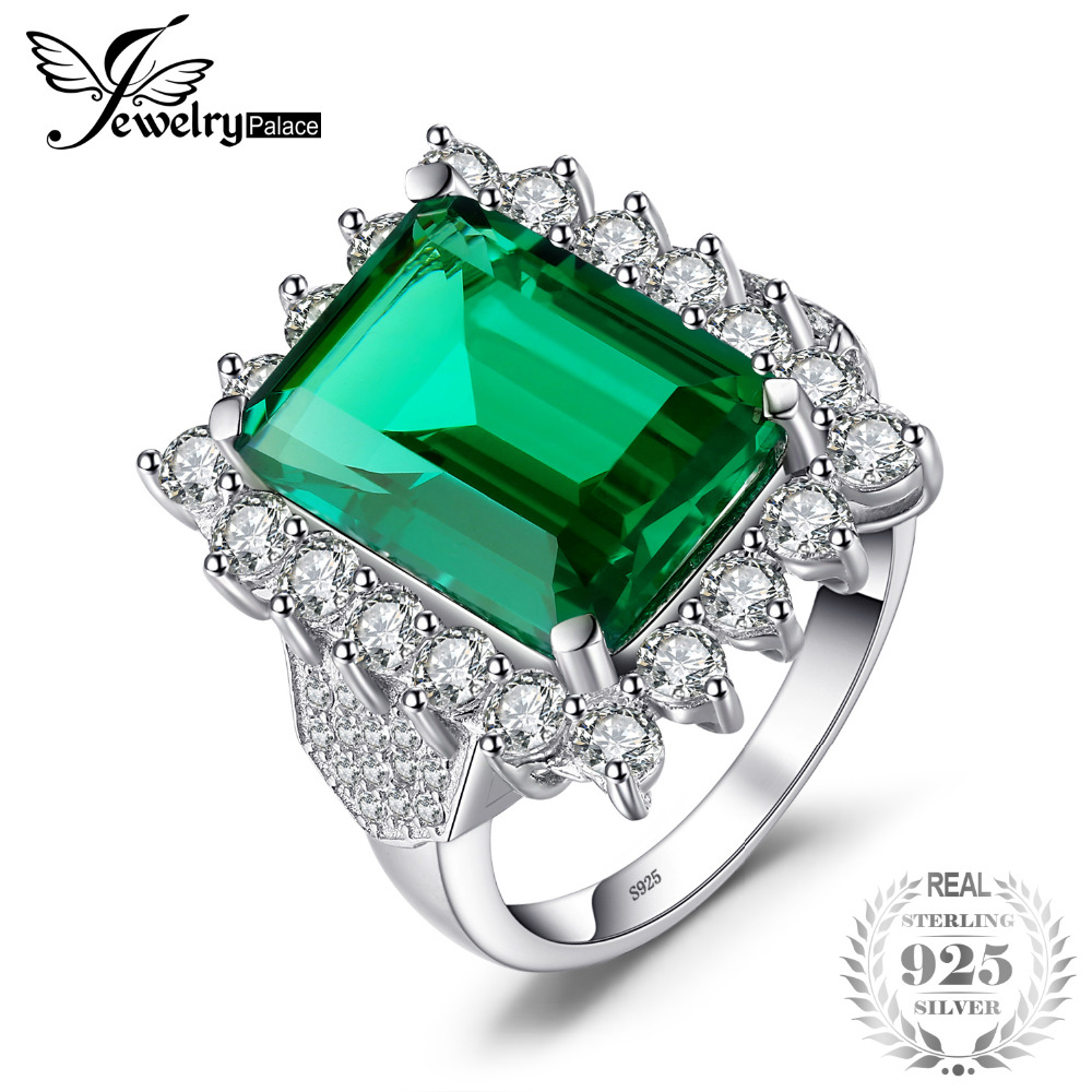 JewelryPalace Luxury 6ct Created Emerald Solid 925 Sterling Silver Statement Ring for Women Fine Jewelry New Brand Party Gift