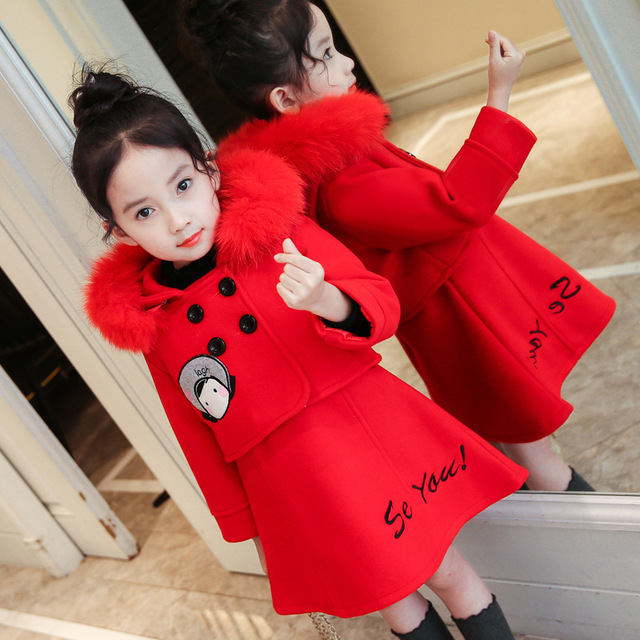 Girls Clothing Sets 2018 Autumn and Winter Single-breasted O-Neck Jacket+Pure Color Dress 2PCS Children's Clothes Suits ruffle hem single breasted dress