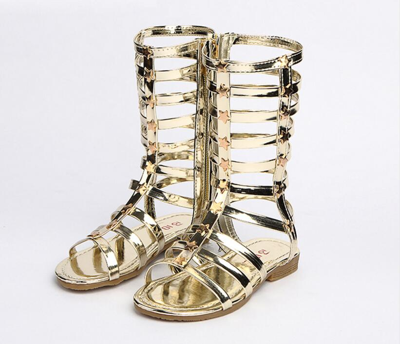 2019 Little Girls Gladiator Sandals Boots Scrub Leather Summer Gold Black High-top Fashion Roman Kid Sandals Toddler Baby Shoes
